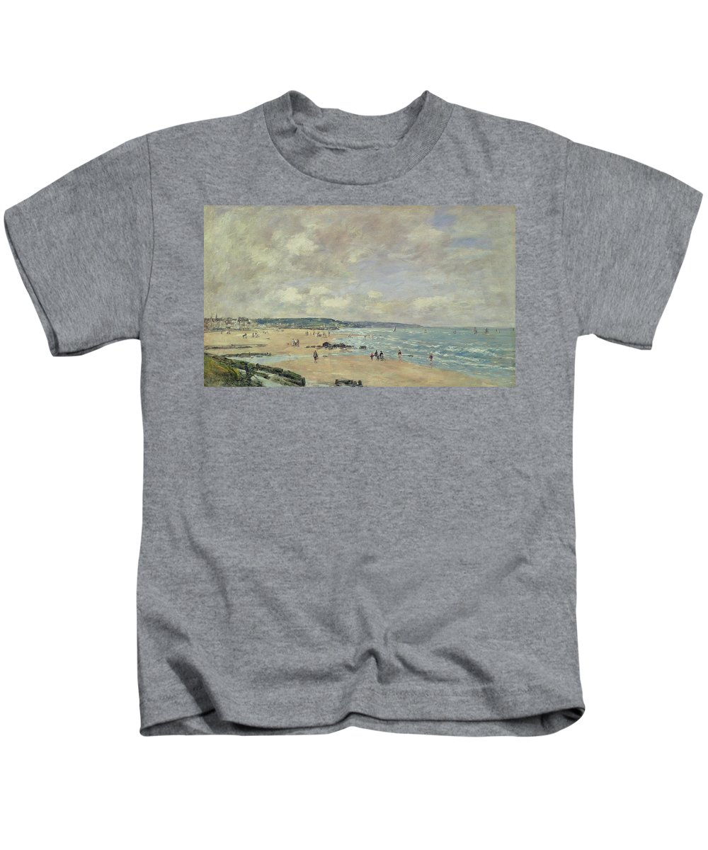 Impressionist Kids T-Shirt featuring the painting Beach At Trouville by Eugene Louis Boudin