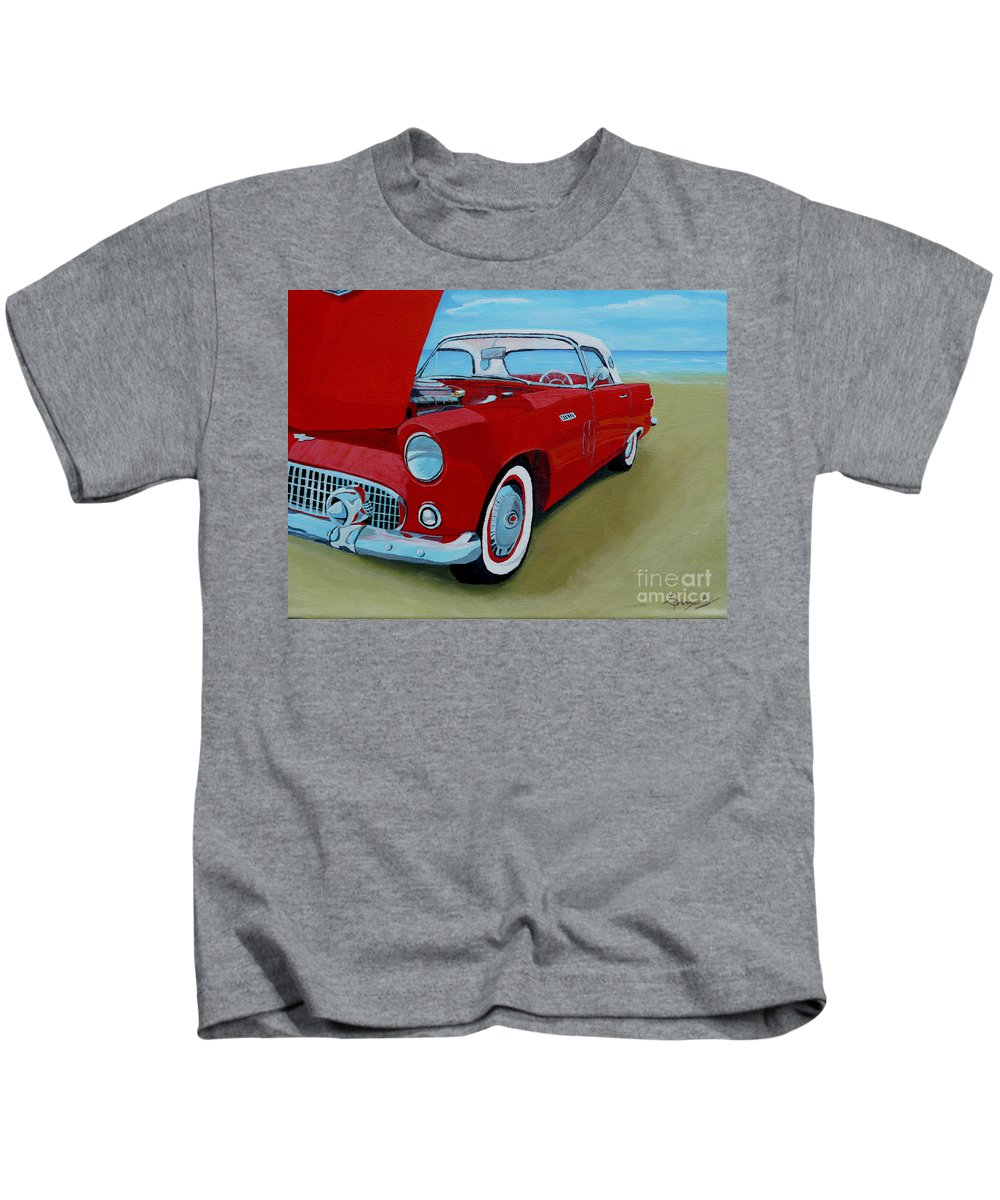 Car Kids T-Shirt featuring the painting Thunder Bird by Anthony Dunphy
