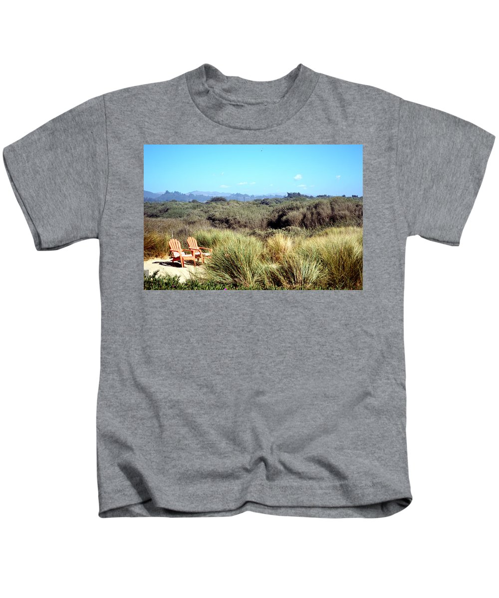 Barbara Snyder Kids T-Shirt featuring the digital art Beach Chairs With A View by Barbara Snyder