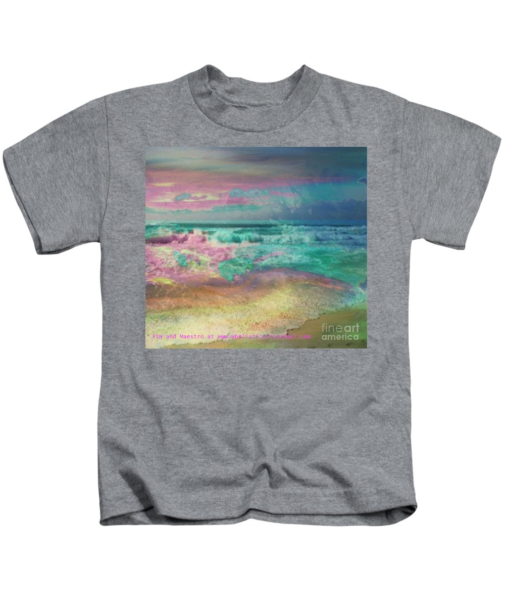Overcas Kids T-Shirt featuring the painting Beach Overcast by PainterArtist FIN