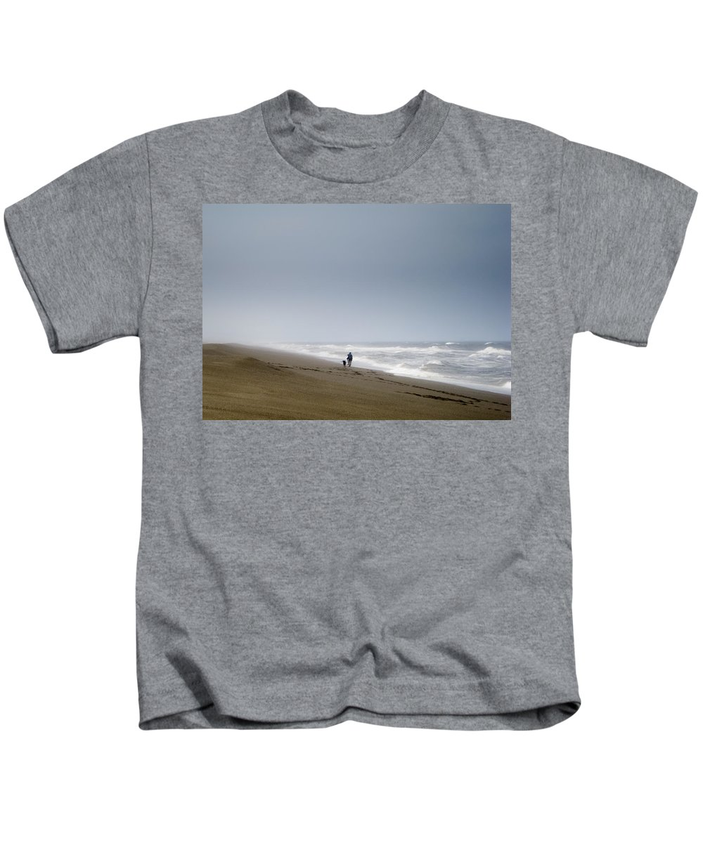 Dog Kids T-Shirt featuring the photograph Beach Woman Dog Waves by Helix Games Photography