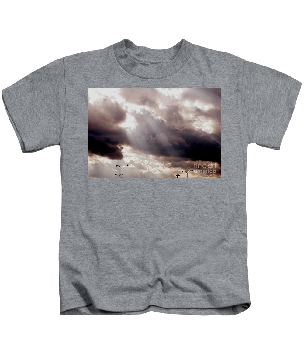 Sunlight Through Clouds Kids T-Shirt featuring the photograph Beams Of Light by Kitrina Arbuckle