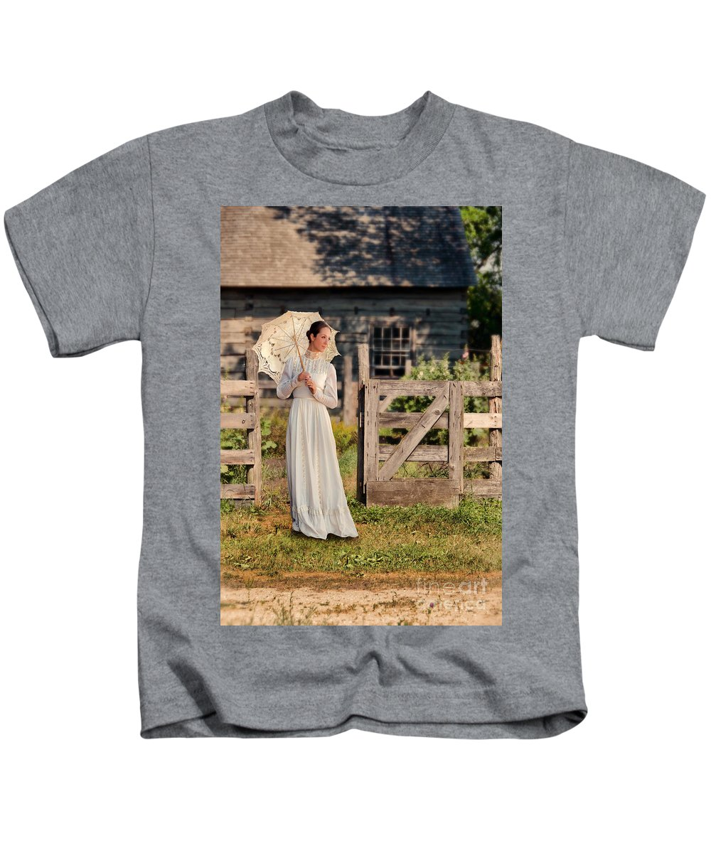 Woman Kids T-Shirt featuring the photograph Beautiful Woman In White Dress With Parasol by Jill Battaglia