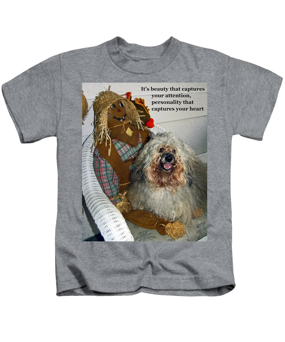 Havanese Dog Kids T-Shirt featuring the photograph Beauty And Personality by Sally Weigand