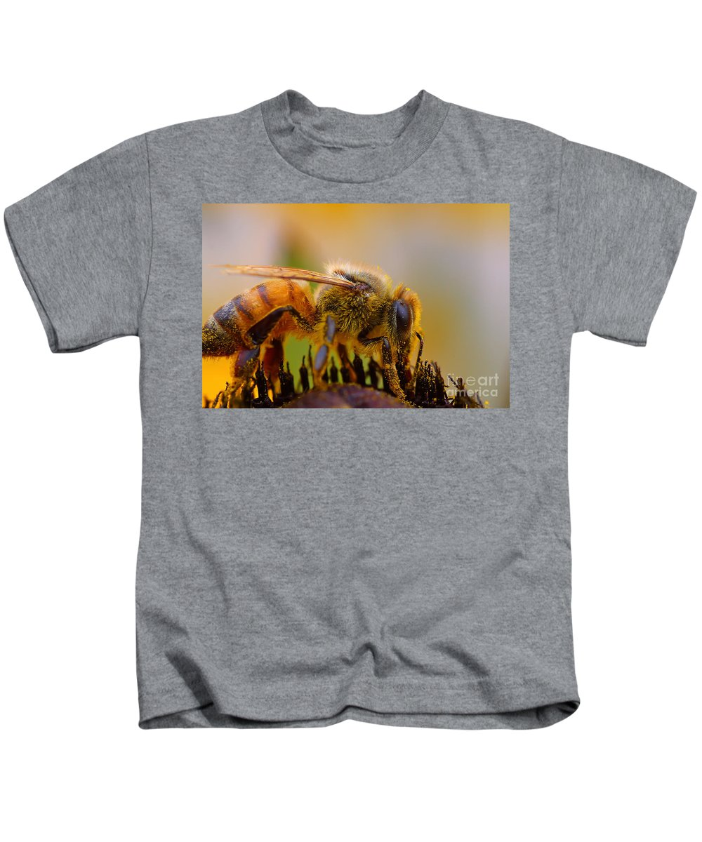 Pollen Kids T-Shirt featuring the photograph Bee Covered In Pollen by Nikki Vig