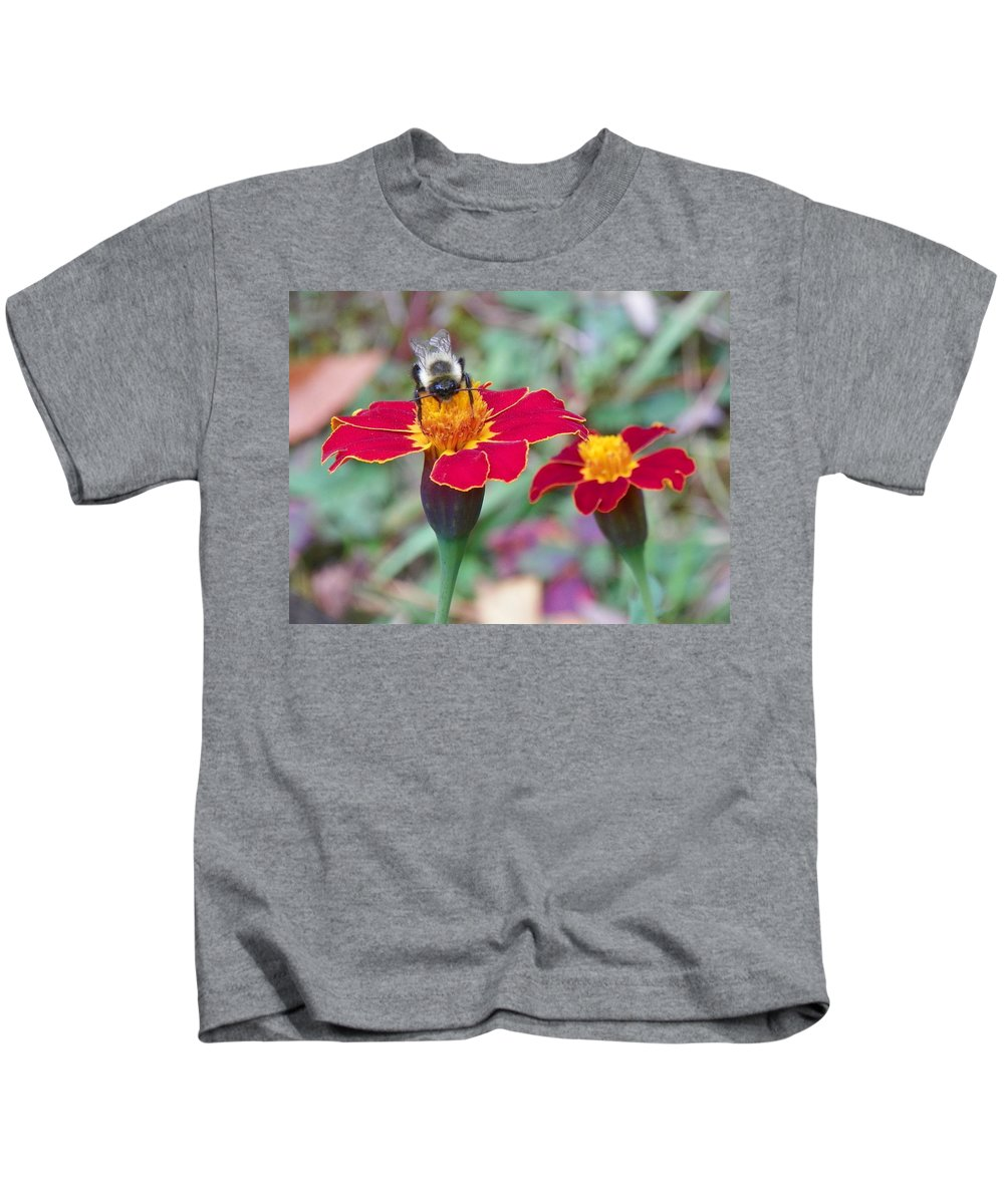 Garden Kids T-Shirt featuring the photograph Bee On A Marigold 2 by Lynne Miller