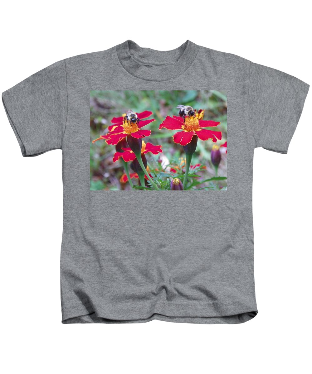 Garden Kids T-Shirt featuring the photograph Bees On A Marigold 4 by Lynne Miller