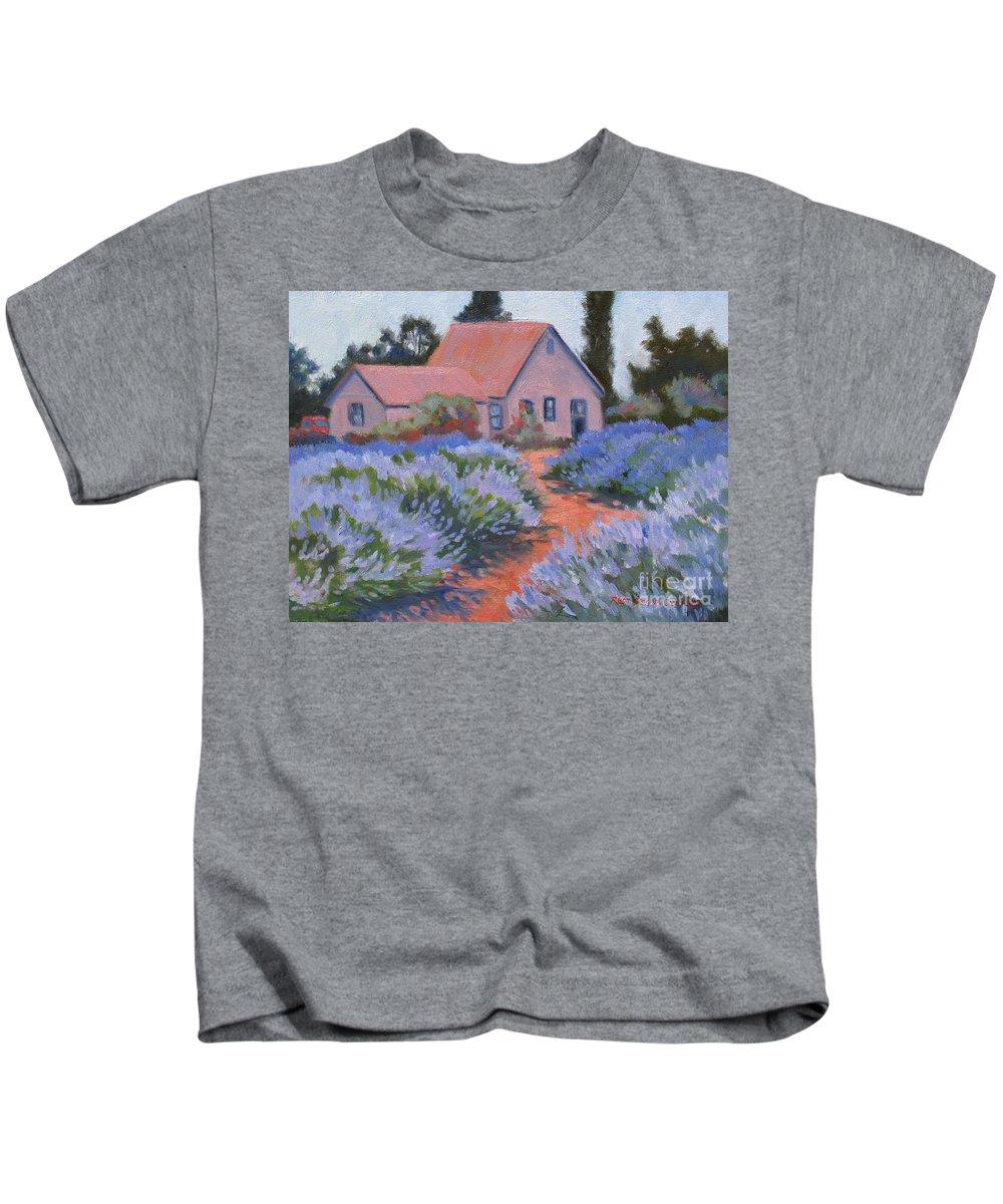 Lavender Kids T-Shirt featuring the painting Beekman Lavender Field by Rhett Regina Owings