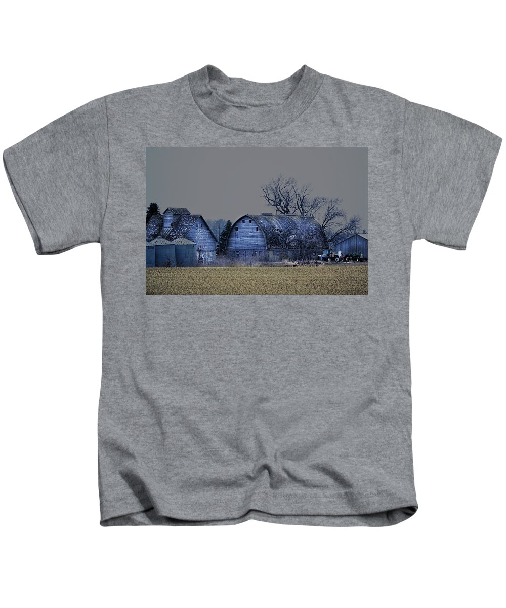 Rustic Kids T-Shirt featuring the photograph Behind The Barn by Bonfire Photography
