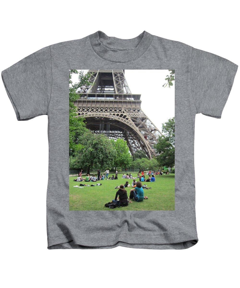 Eiffel Tower Kids T-Shirt featuring the photograph Below The Eiffel Tower by Pema Hou