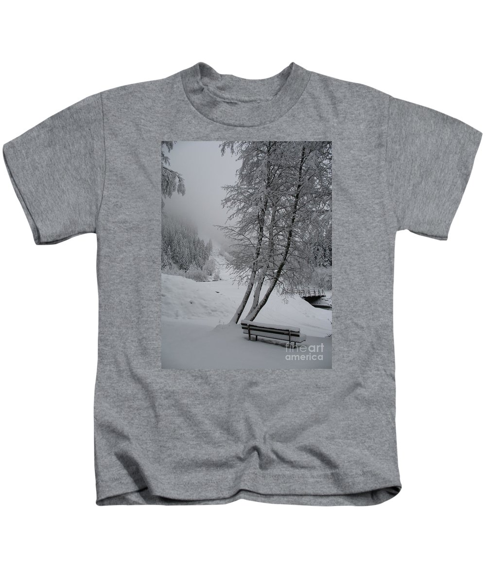 Bench Kids T-Shirt featuring the photograph Bench In The Snow by Christiane Schulze Art And Photography
