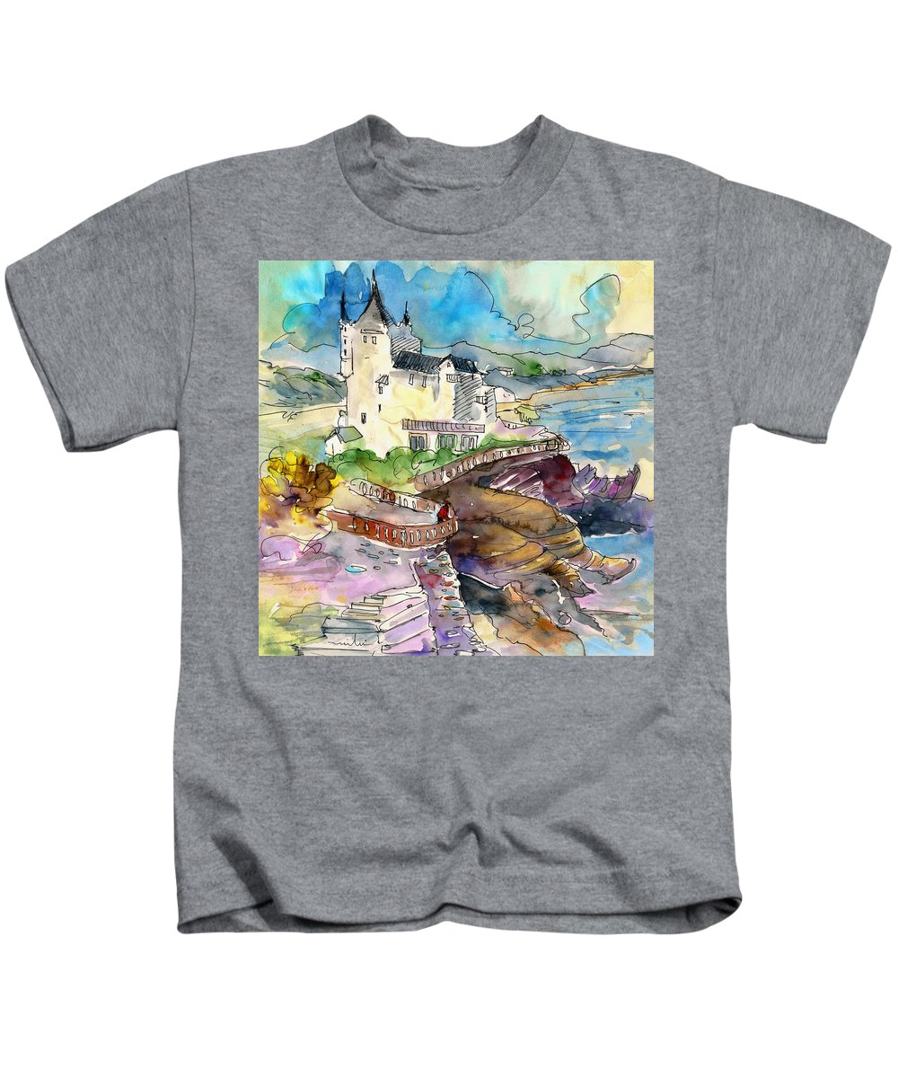 Travel Kids T-Shirt featuring the painting Biarritz 02 by Miki De Goodaboom
