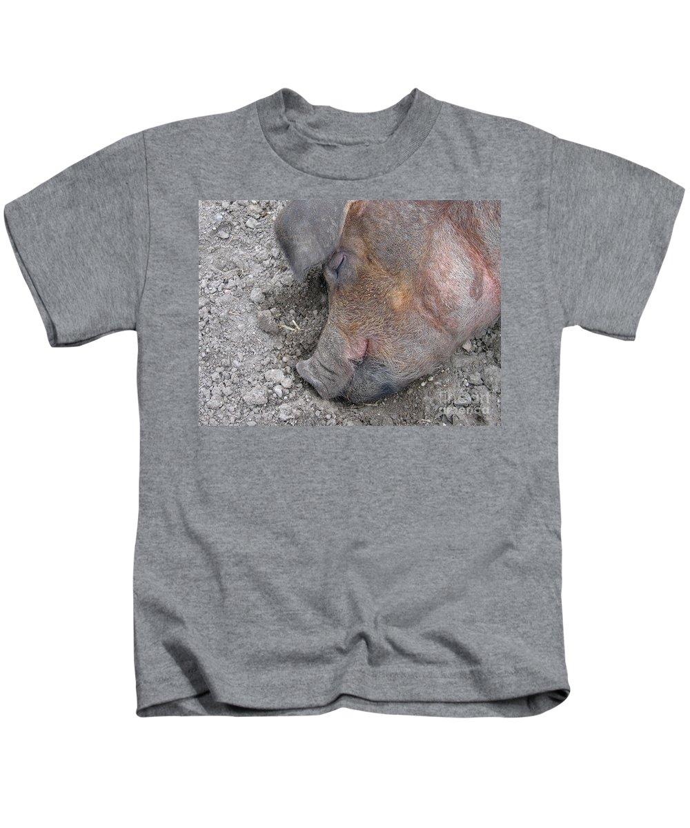 Pig Kids T-Shirt featuring the photograph Big Dreamer by Ann Horn