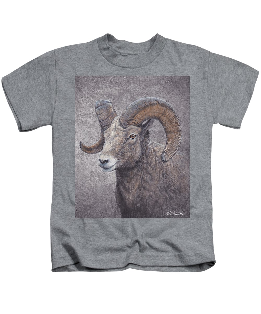 Wildlife Kids T-Shirt featuring the painting Big Horn Ram by Mike Stinnett