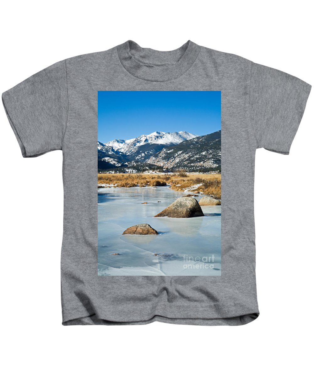 Big Thompson River Kids T-Shirt featuring the photograph Big Thompson River Through Moraine Park In Rocky Mountain National Park by Fred Stearns