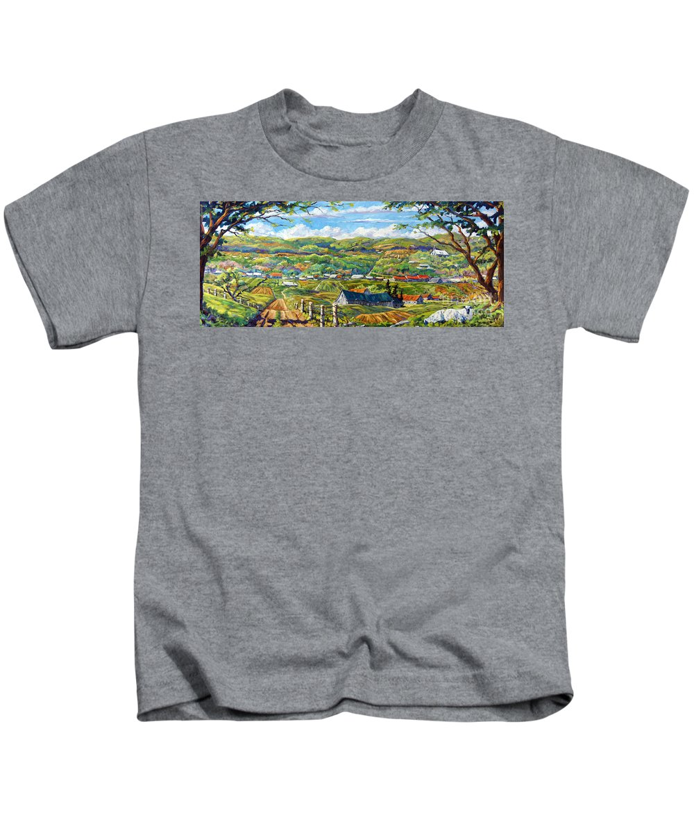 Landscape From Quebec Kids T-Shirt featuring the painting Big Valley By Prankearts by Richard T Pranke