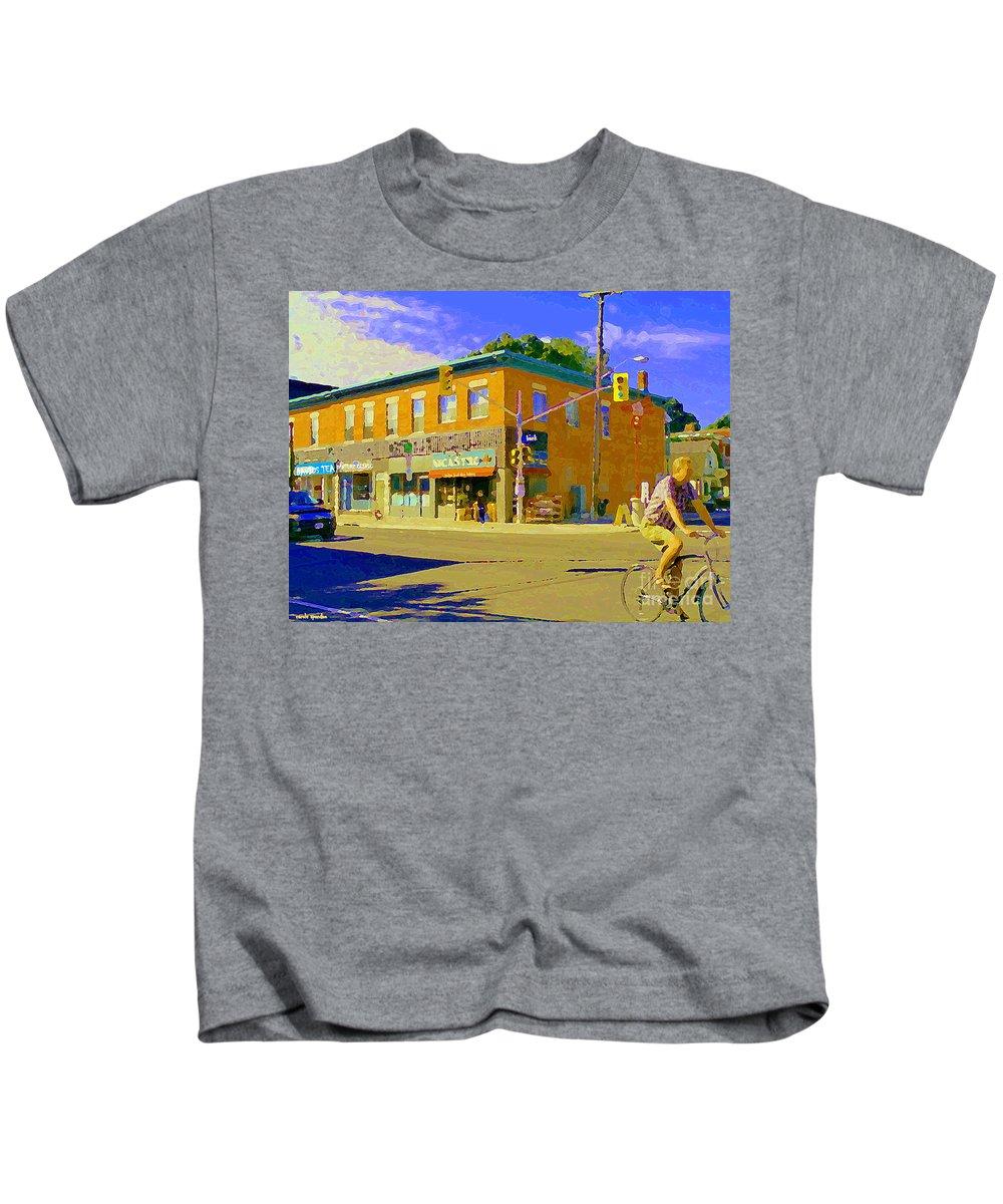 Ottawa Kids T-Shirt featuring the painting Biking By The Bakery On Bank The Glebe Nicastro Foods And David's Tea Ottawa Streetscene Cspandau  by Carole Spandau