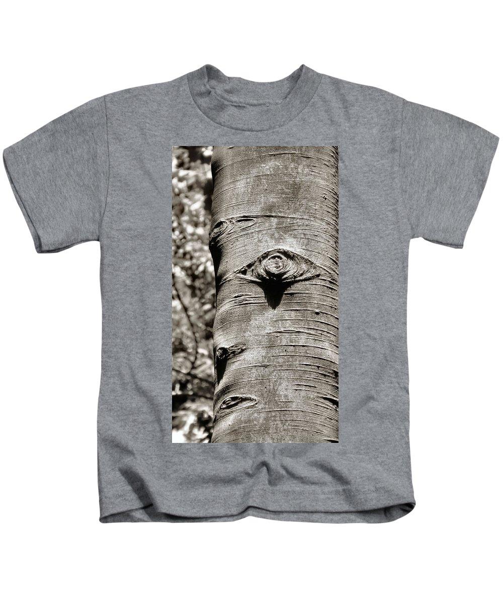 Nature Kids T-Shirt featuring the photograph Birch Tree Spirits by Art Dingo