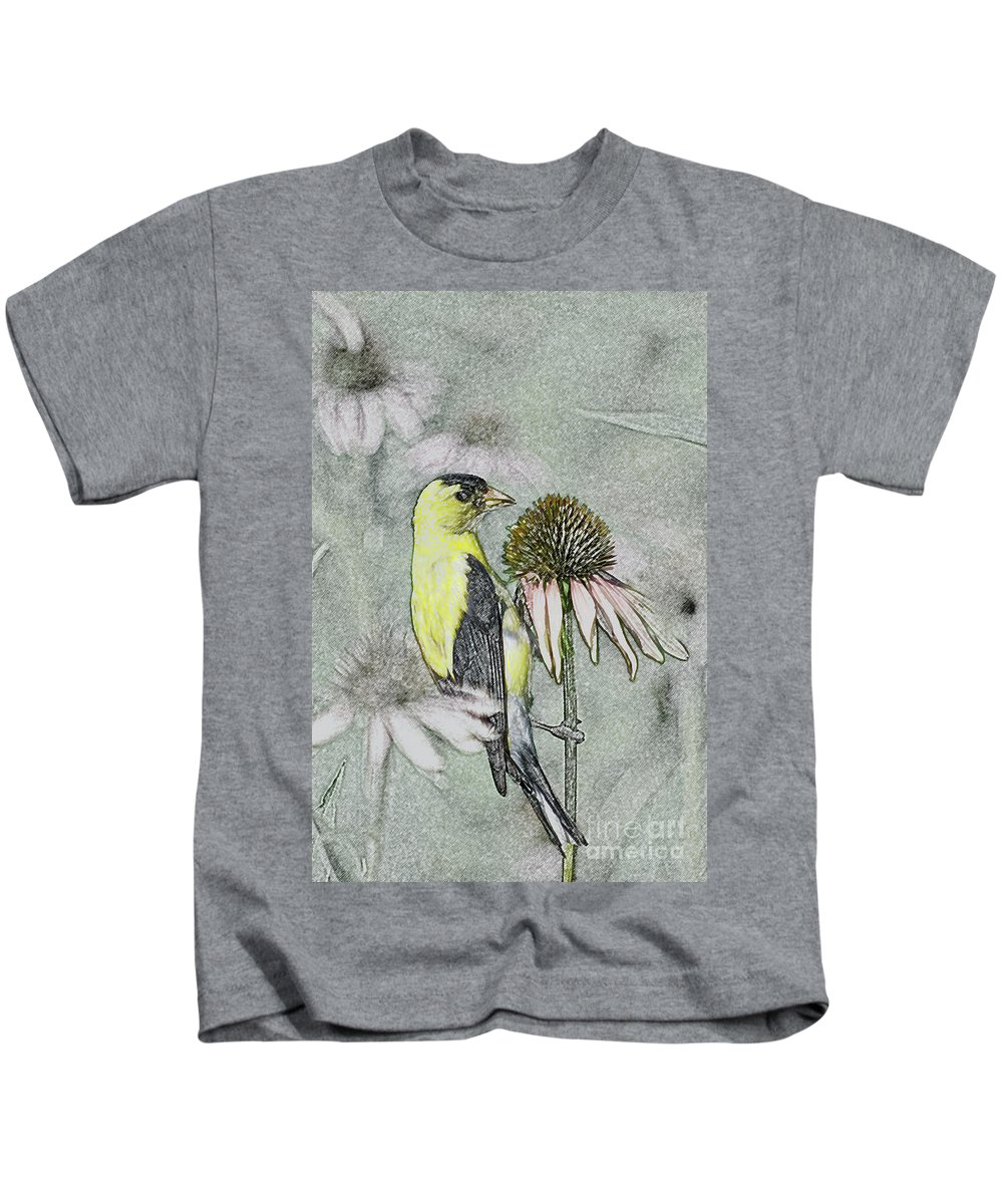 Birds Kids T-Shirt featuring the photograph Bird Eating Seeds For One Digital Art by Thomas Woolworth