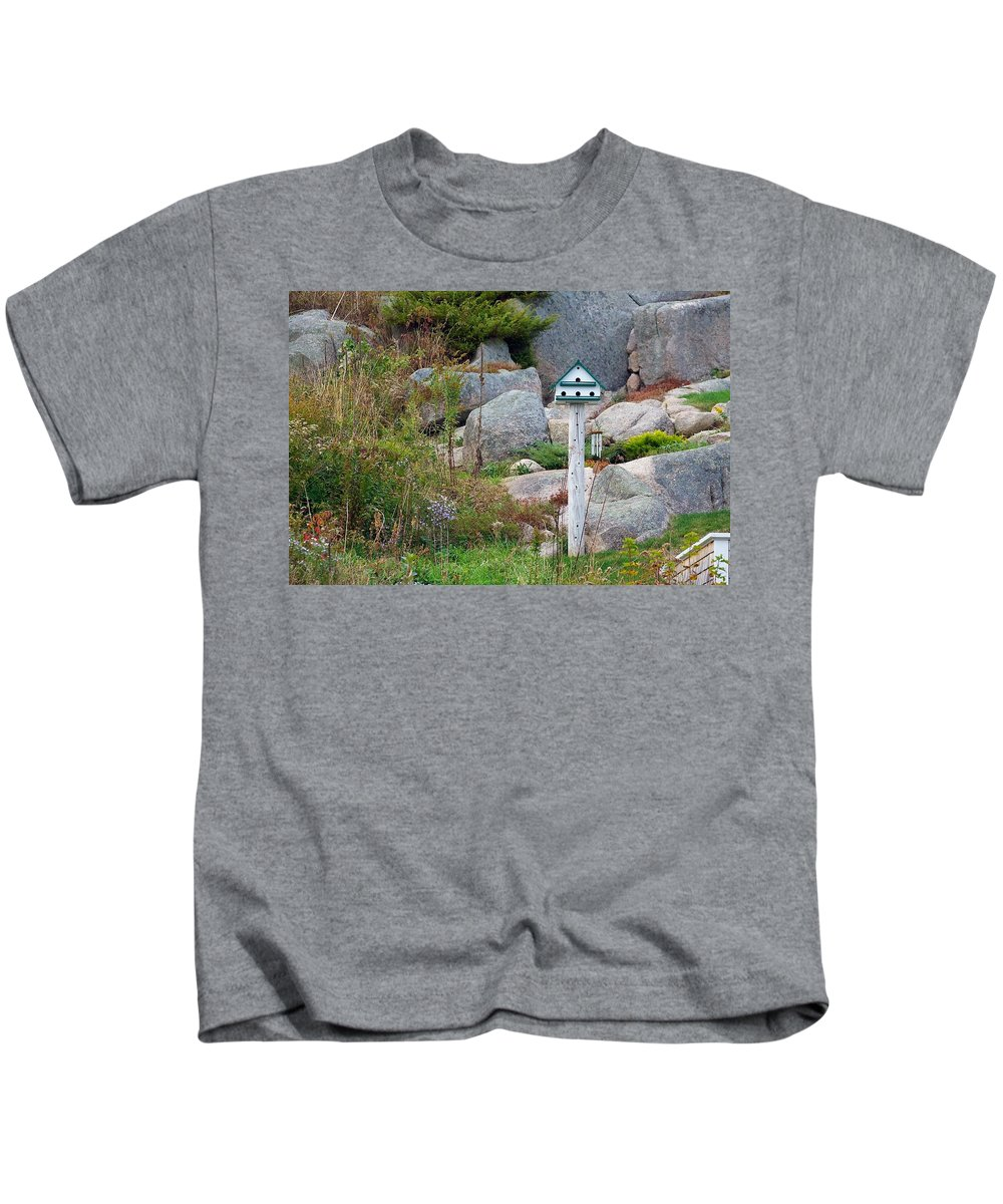 Birdhouse Kids T-Shirt featuring the photograph Bird House And Chimes by Stuart Litoff