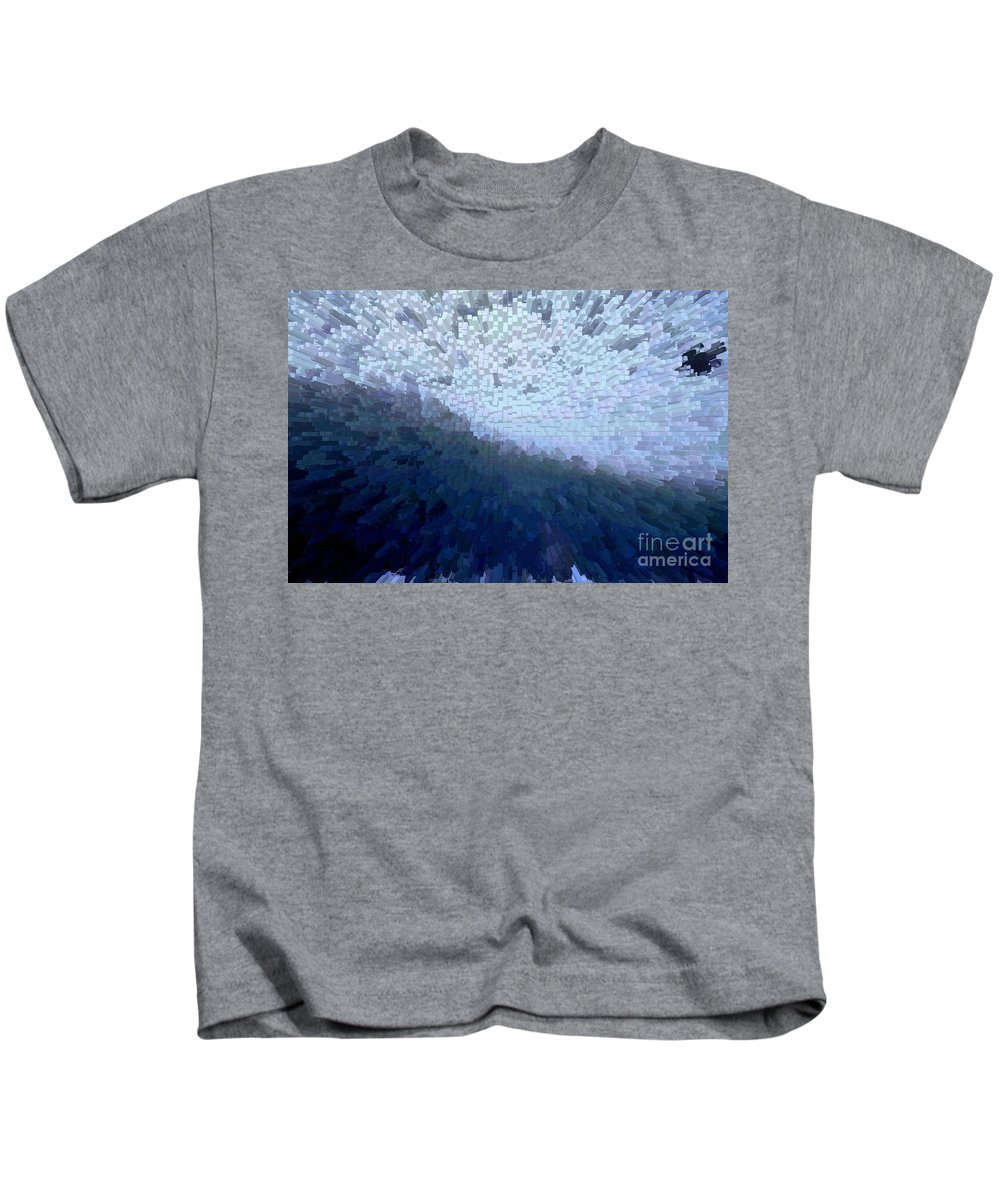 Bird In A Storm Kids T-Shirt featuring the digital art Bird In A Storm - Obstacle - Life Journey by Barbara Griffin
