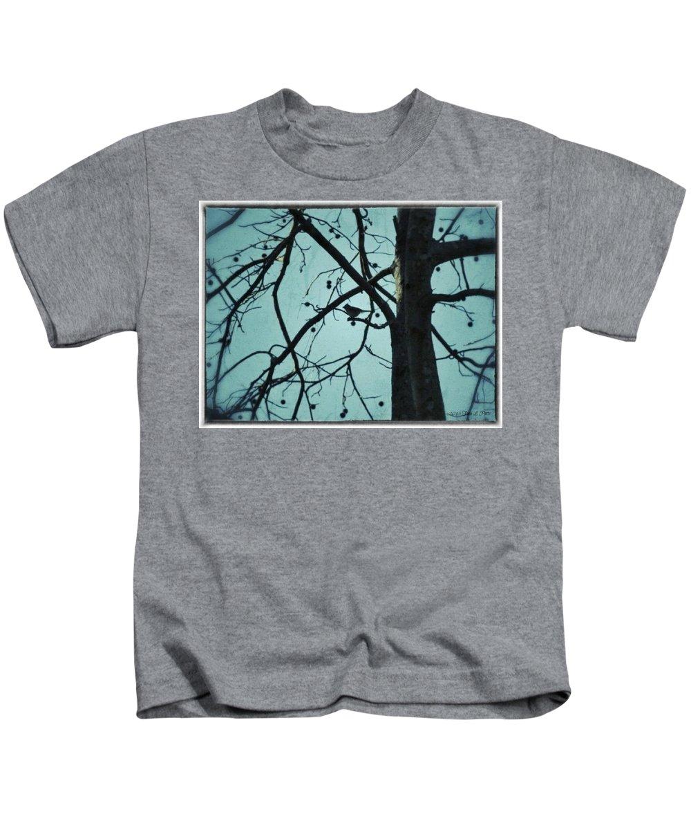 Bird Kids T-Shirt featuring the photograph Bird In Tree by Tara Potts