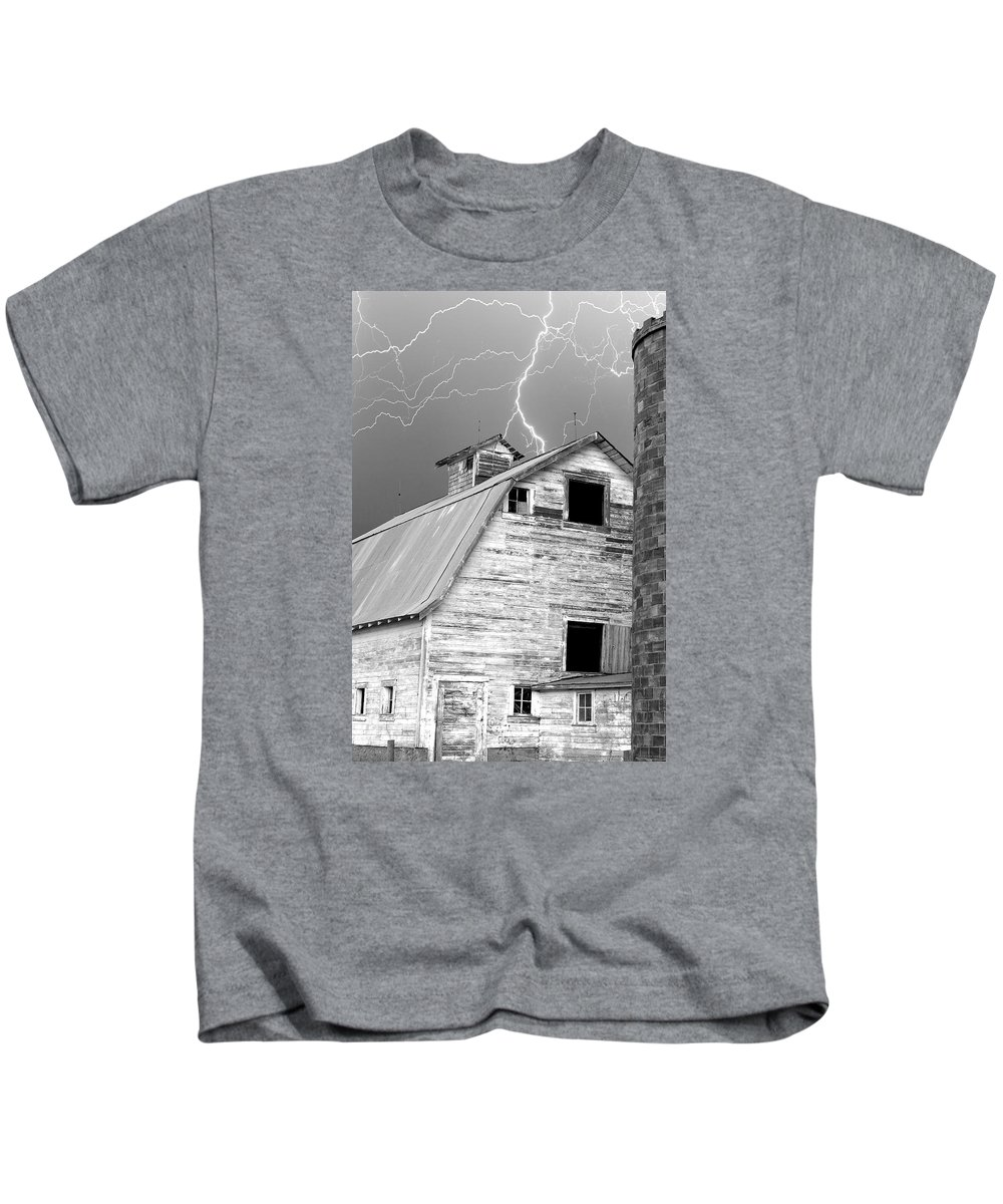 Lightning Kids T-Shirt featuring the photograph Black And White Old Barn Lightning Strikes by James BO Insogna