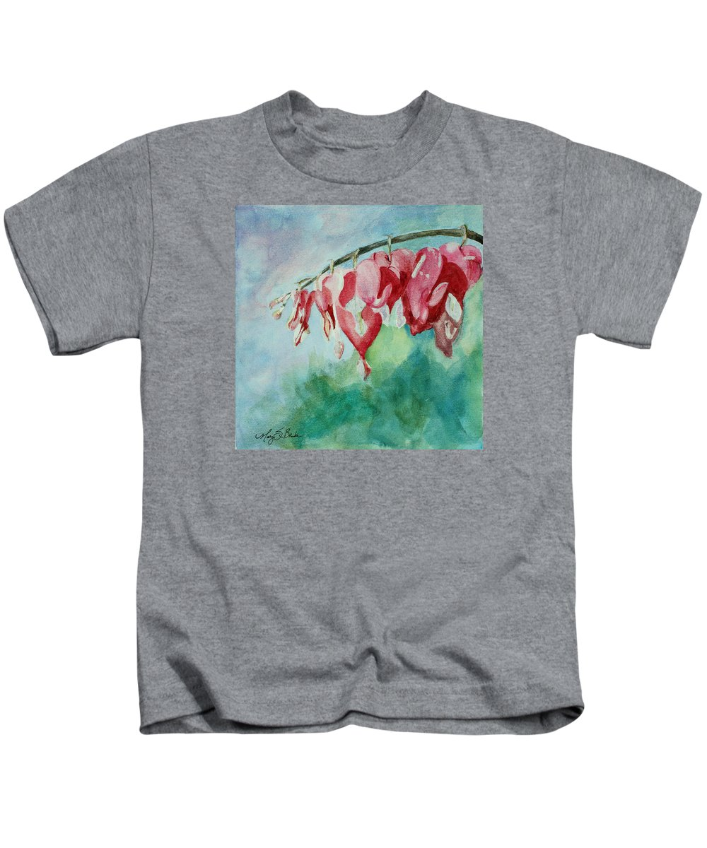 Watercolor Kids T-Shirt featuring the painting Bleeding Hearts by Mary Benke