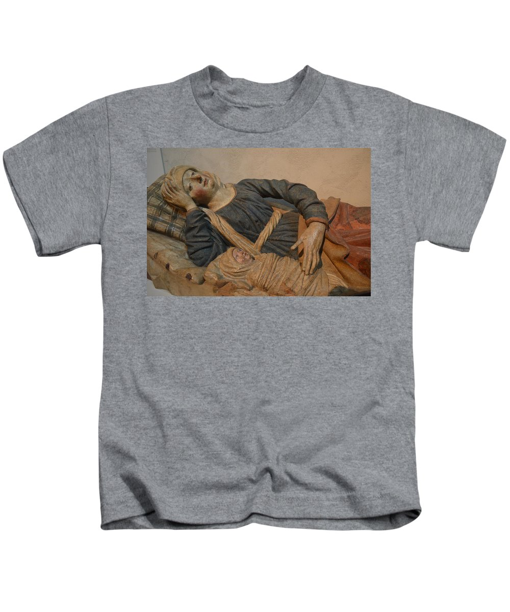 Mary Kids T-Shirt featuring the sculpture Blessed Virgin Mary by Philip Ralley