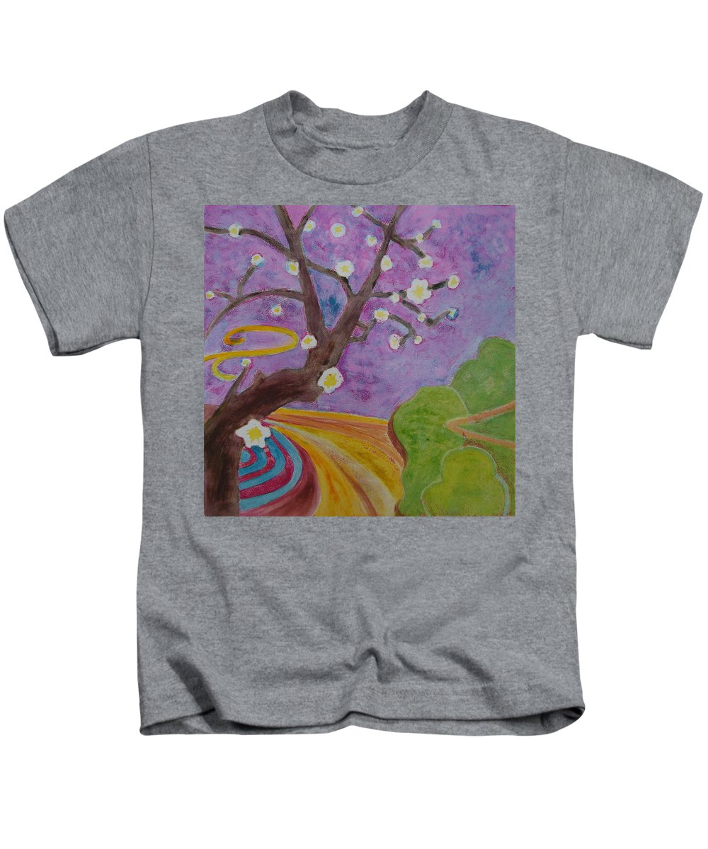 Tree Kids T-Shirt featuring the mixed media Blossoms 6 by Karen Coggeshall