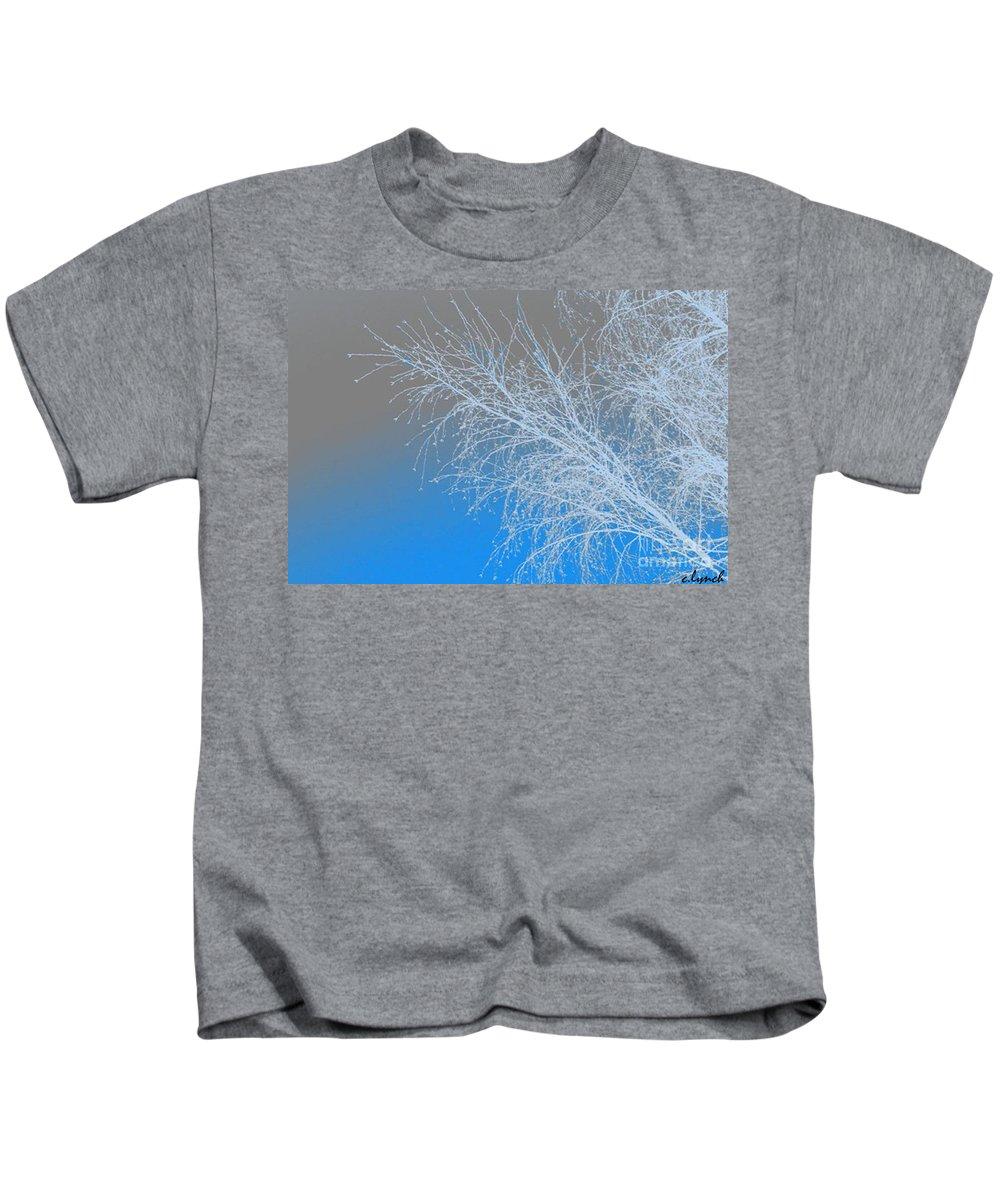Blue Kids T-Shirt featuring the digital art Blue Branches by Carol Lynch