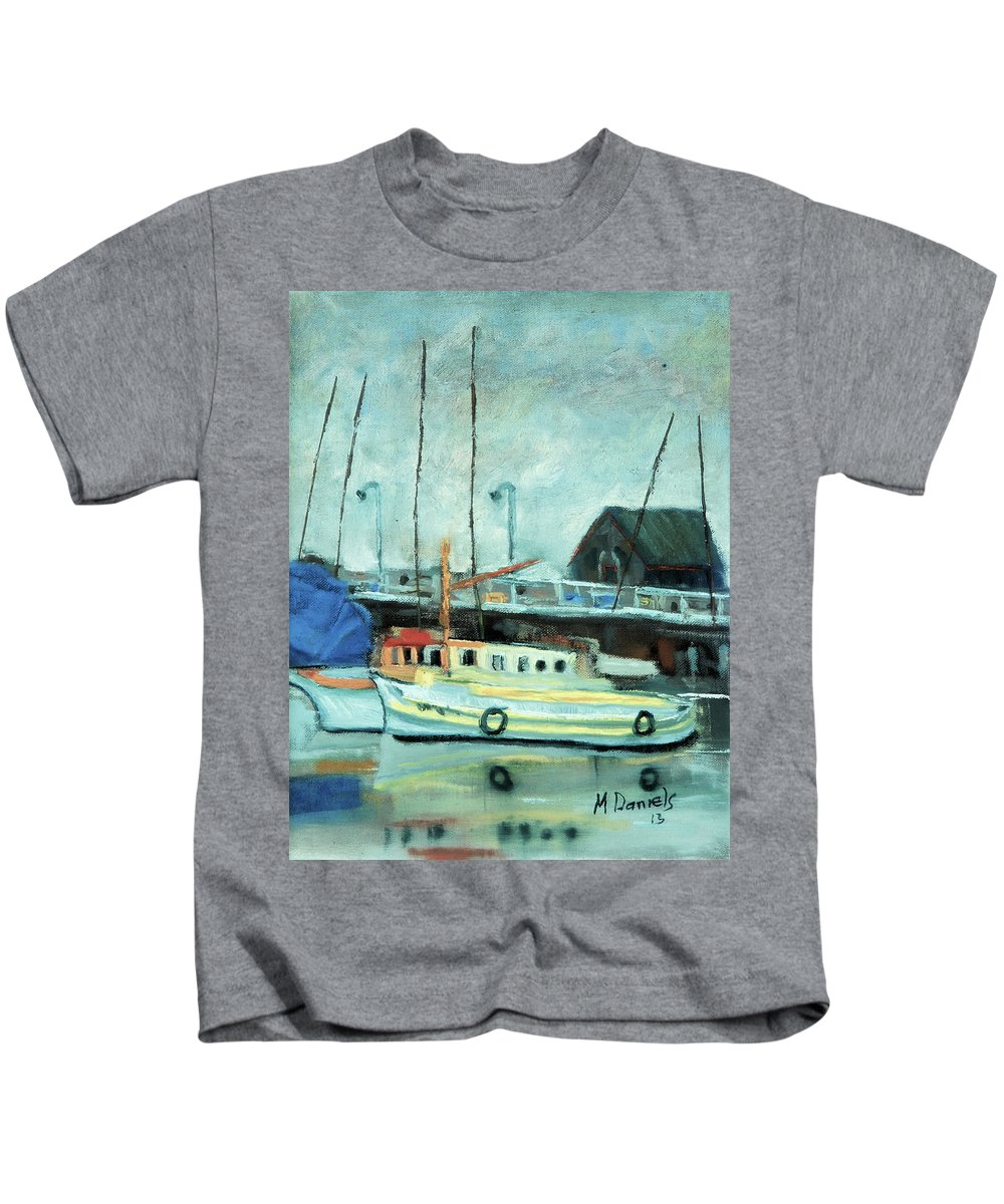 Boat Kids T-Shirt featuring the painting Boats At Provincetown Ma by Michael Daniels