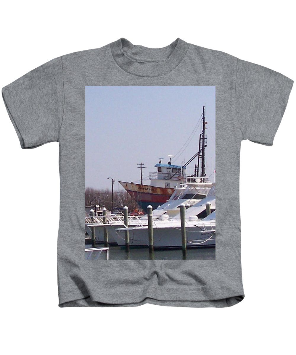 Boat Kids T-Shirt featuring the photograph Boats Docked by Pharris Art