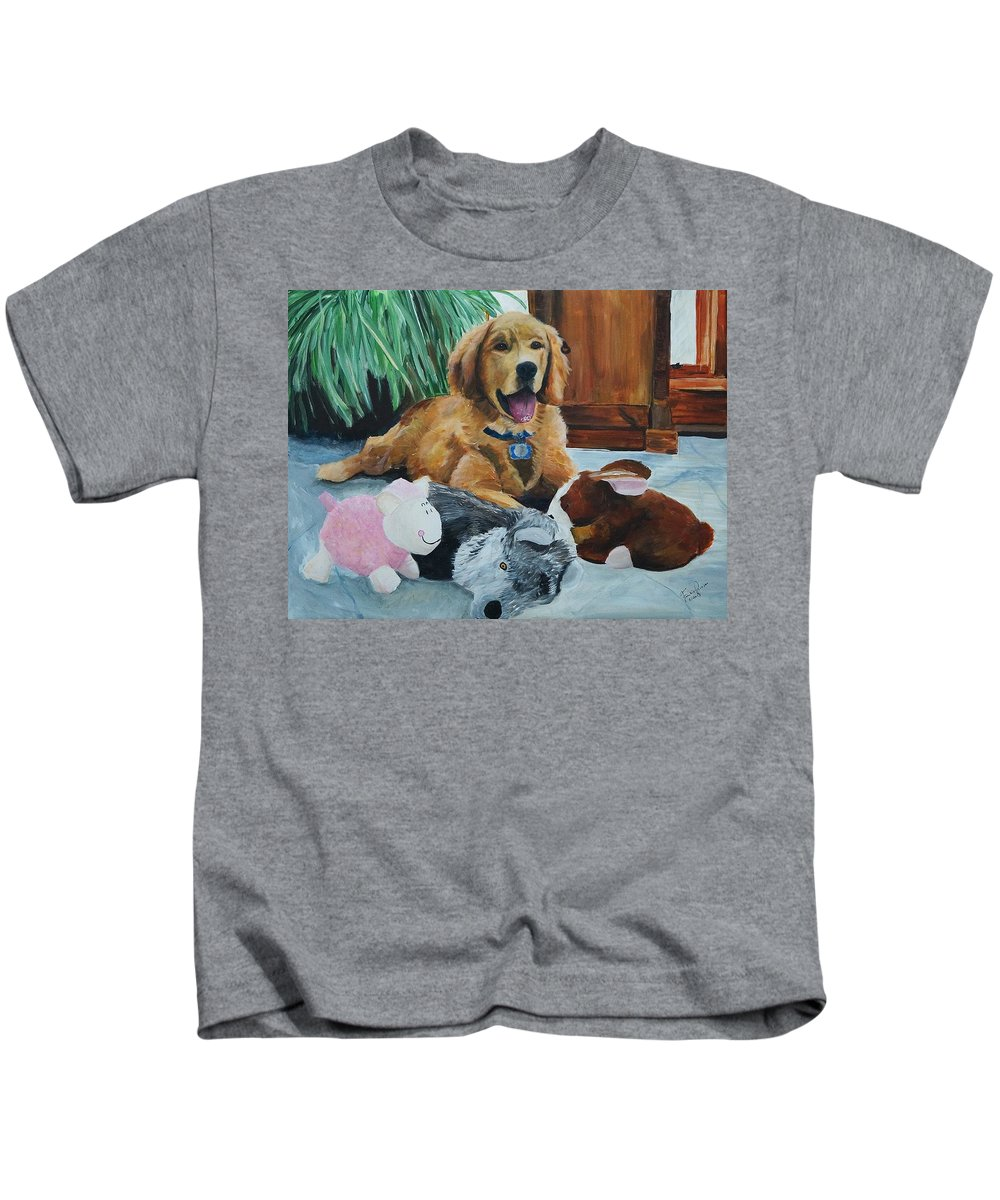 Golden Retriever Kids T-Shirt featuring the painting Bongo-the Teenage Years by Frankie Picasso