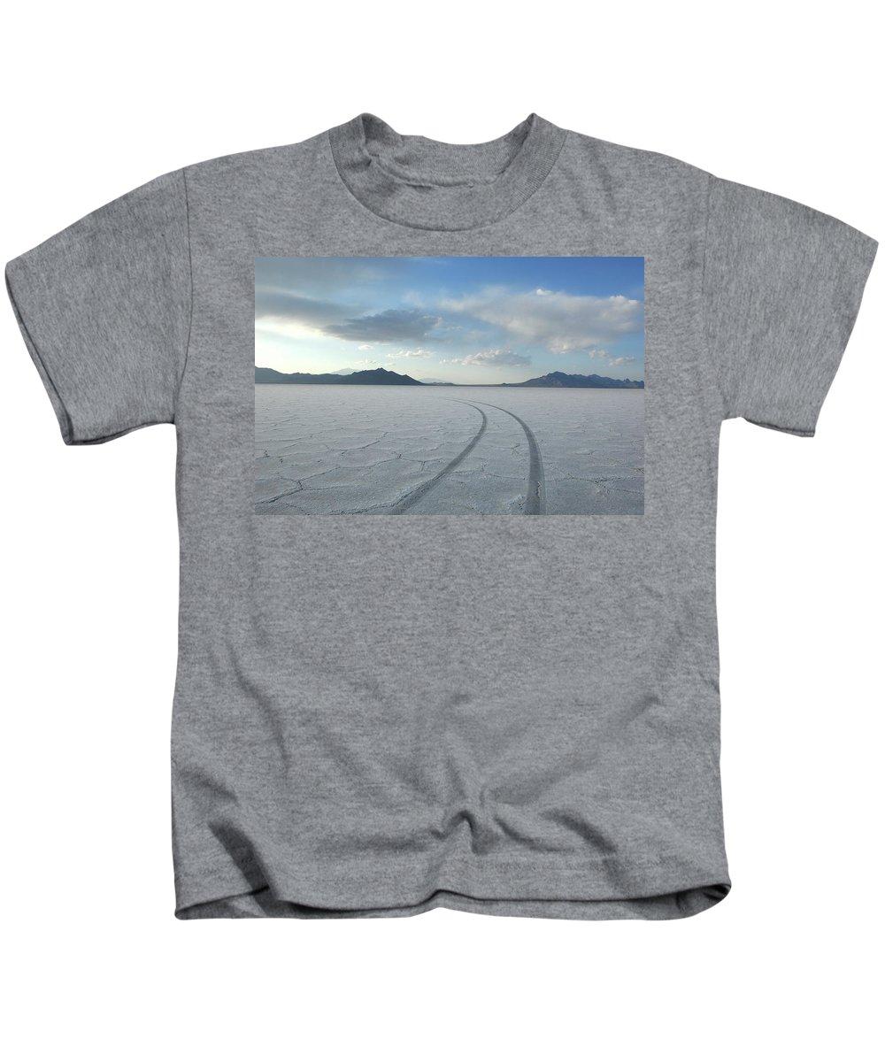 Bonneville Salt Flats Kids T-Shirt featuring the photograph Bonneville Salt Flats, Salt Lake City by Christian Heeb