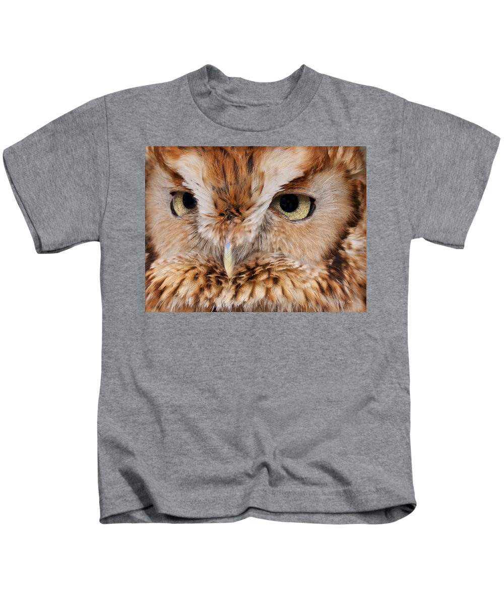 Eyes Kids T-Shirt featuring the photograph Boreal Owl Eyes by Craig Voth
