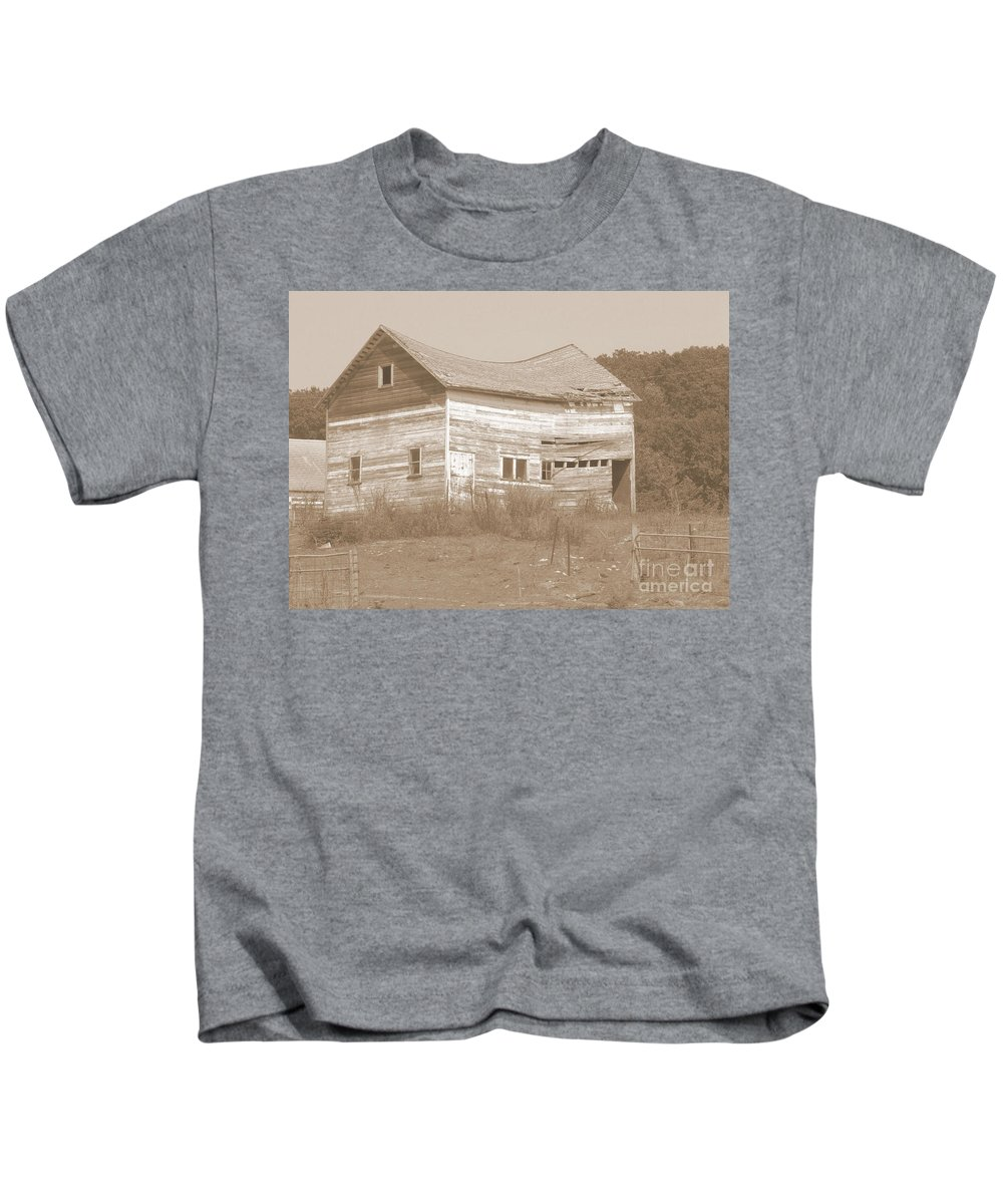 Old Farm Kids T-Shirt featuring the photograph Bowed And Lonely Barn by Minding My Visions by Adri and Ray