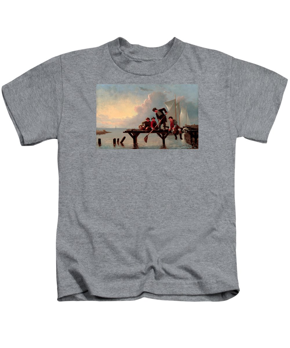 William Ranney Kids T-Shirt featuring the painting Boys Crabbing by William Ranney