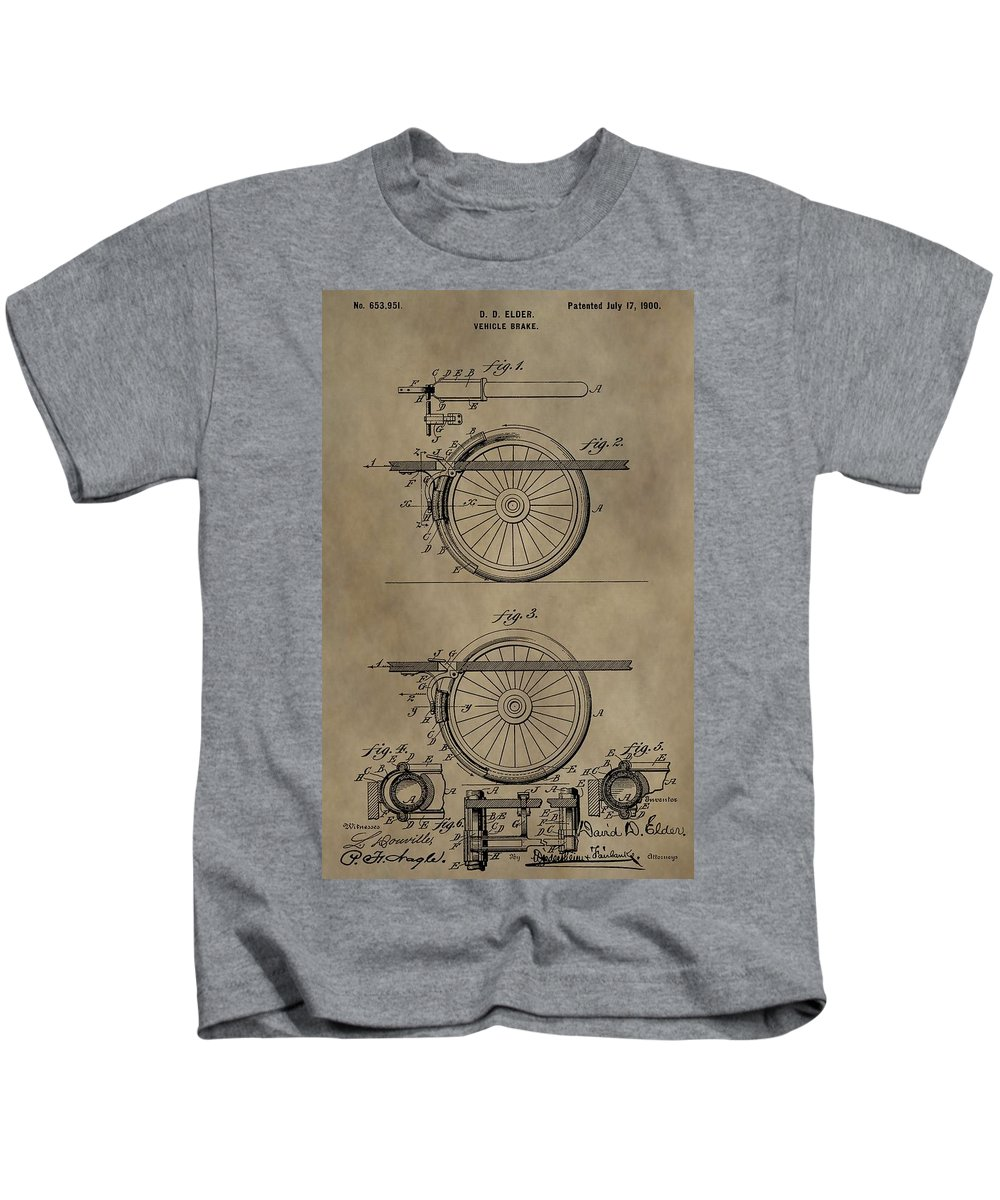 Brake Patent Kids T-Shirt featuring the mixed media Brake Patent by Dan Sproul