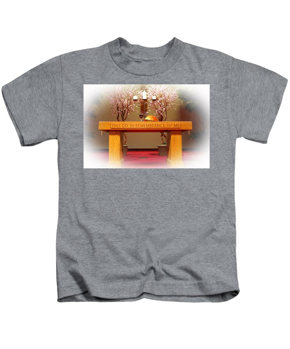 Church Kids T-Shirt featuring the photograph Bread And Wine by Kathleen Struckle