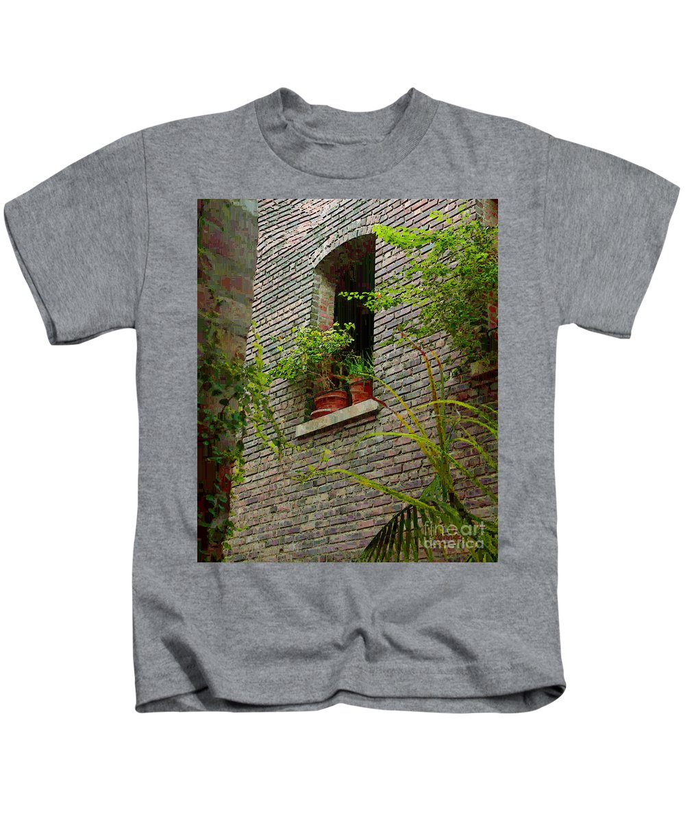 Window Kids T-Shirt featuring the painting Brick With Greenery by RC DeWinter