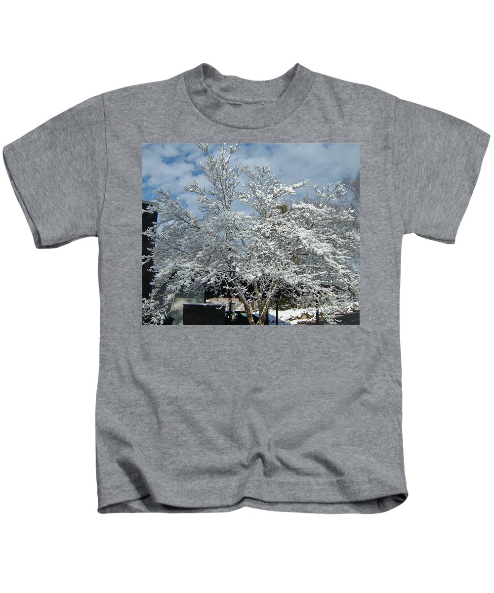 Brilliant Kids T-Shirt featuring the photograph Brilliant Snow Coated Tree by Susan Wyman
