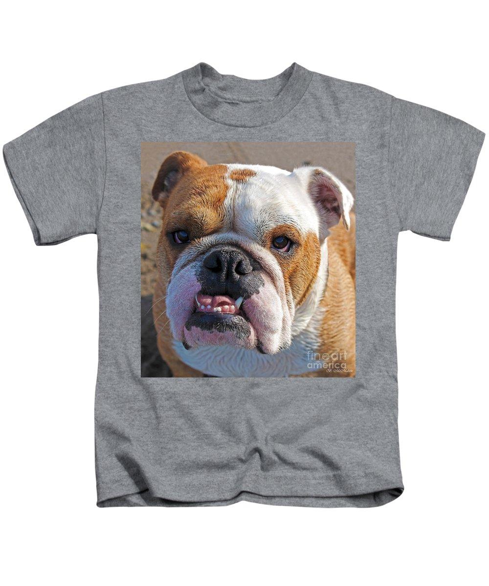 British Bulldog Kids T-Shirt featuring the photograph British Bully by Barbara McMahon