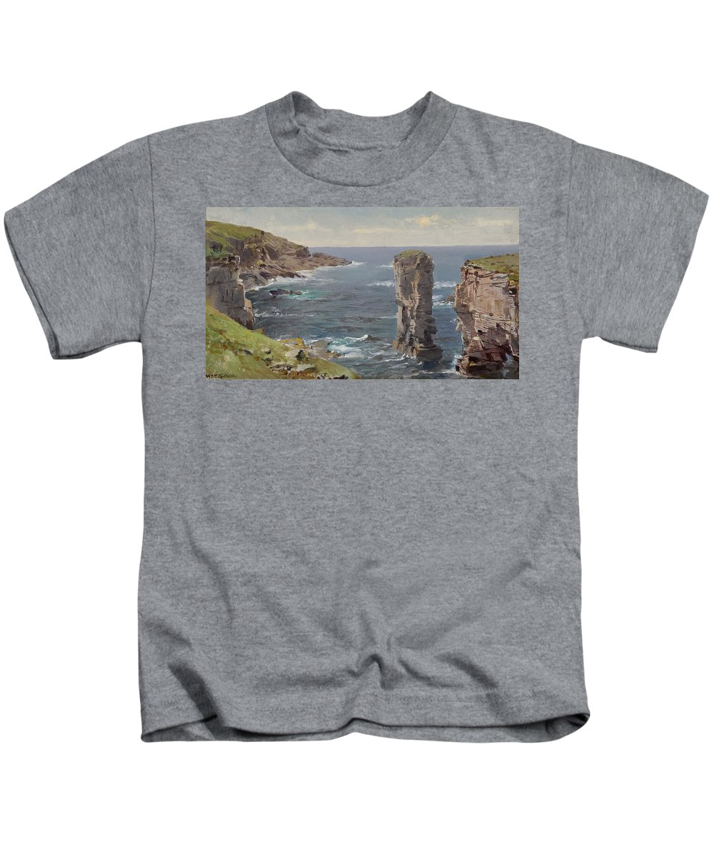 William Trost Richards Kids T-Shirt featuring the painting British Coastal View. Coast Of Cornwall by William Trost Richards