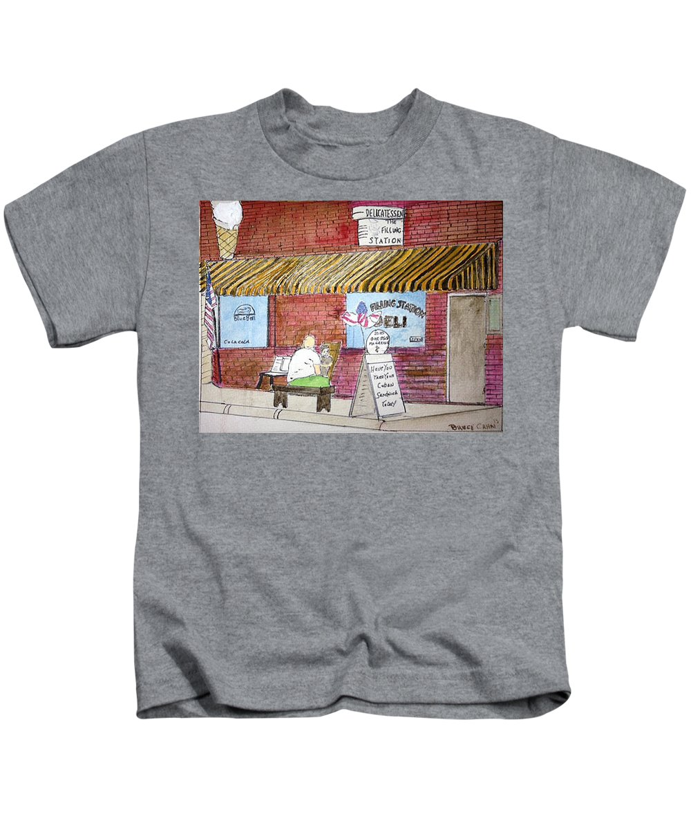 Watercolor Kids T-Shirt featuring the photograph Bruce's Deli by Russ Cahn