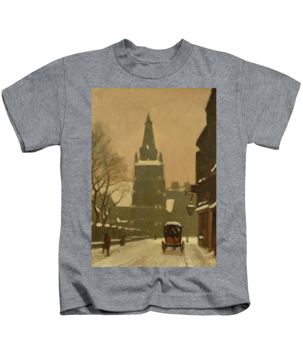 Snow Kids T-Shirt featuring the painting Bunhill Row by Samuel Harry Hancock