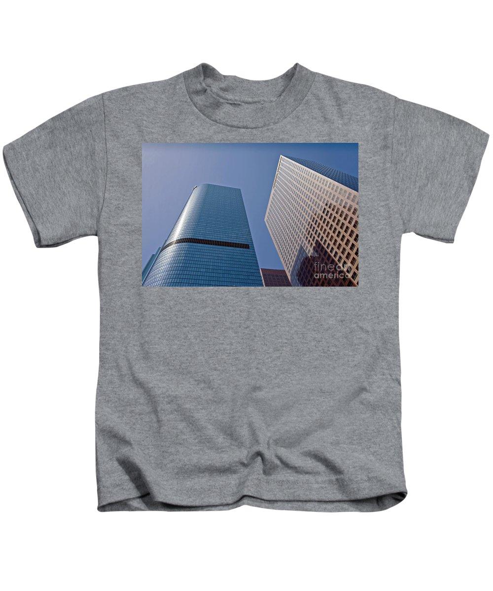 Bunker Hill Kids T-Shirt featuring the photograph Bunker Hill Financial District California Plaza by David Zanzinger
