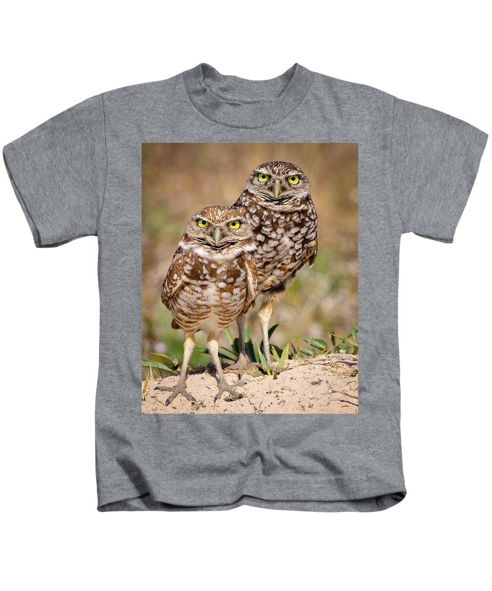 Kids T-Shirt featuring the photograph Burrowing Owls by Dennis Goodman