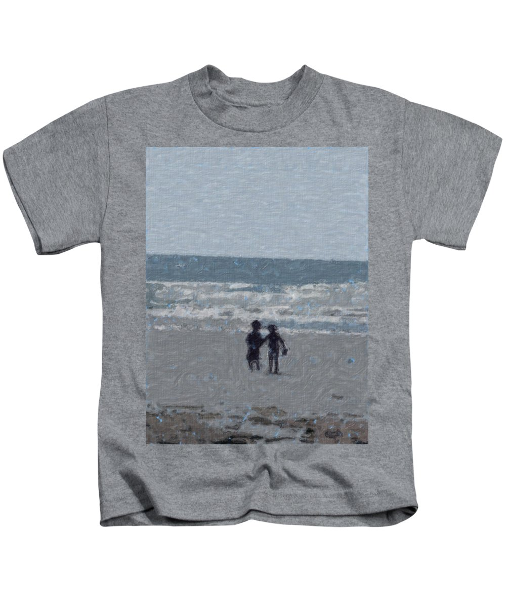 Fun Kids T-Shirt featuring the painting By The Ocean by Sergey Bezhinets
