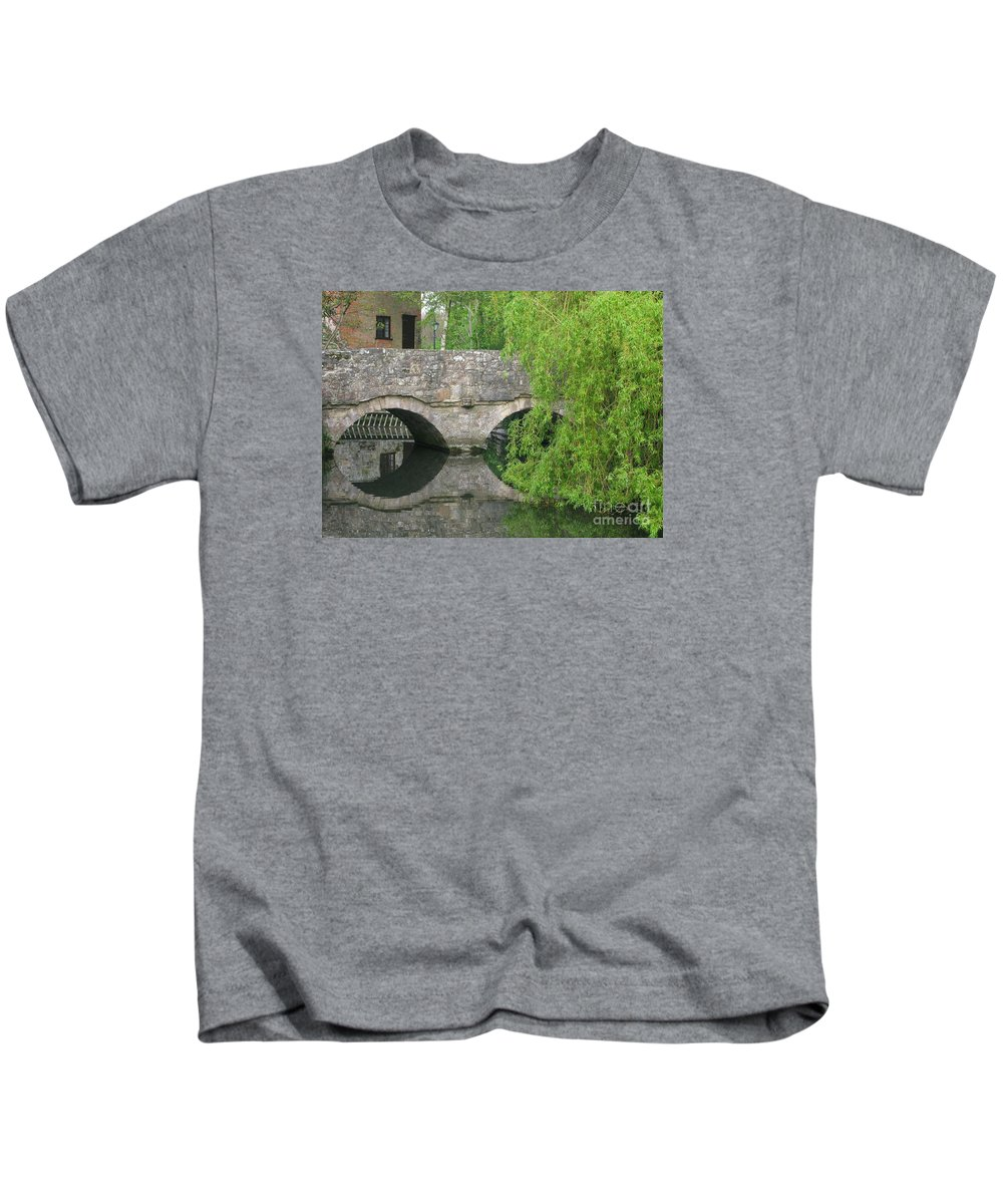England Kids T-Shirt featuring the photograph By The Old Mill Stream by Ann Horn